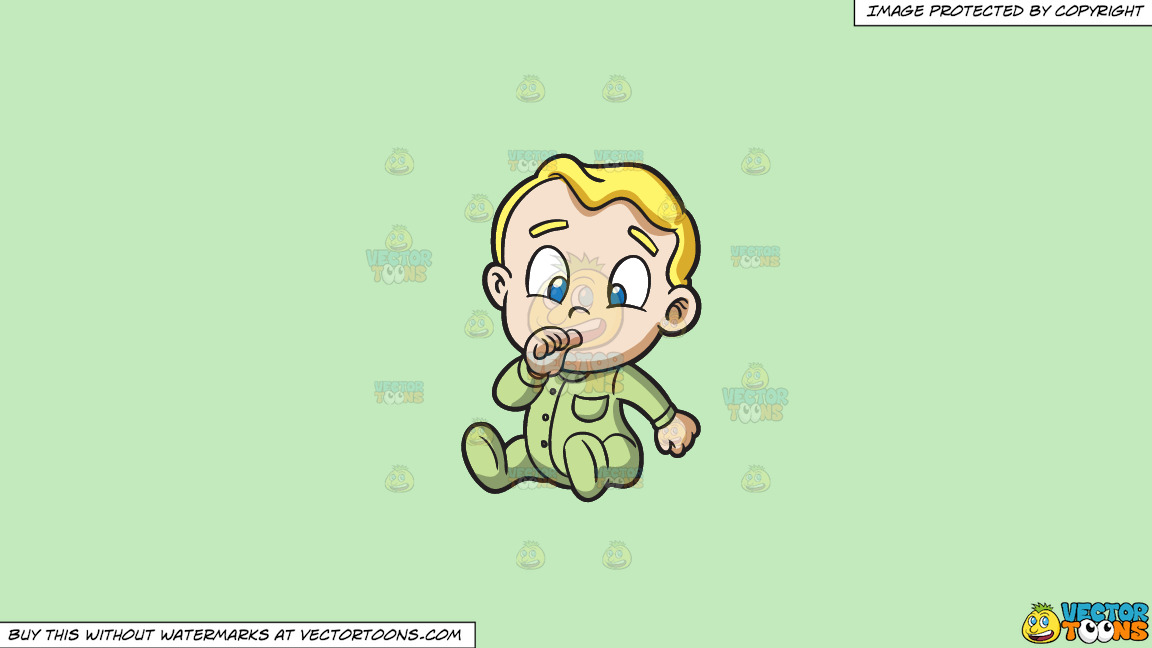 A Baby Boy Sucking His Thumb On A Solid Tea Green C2eabd Background thumbnail