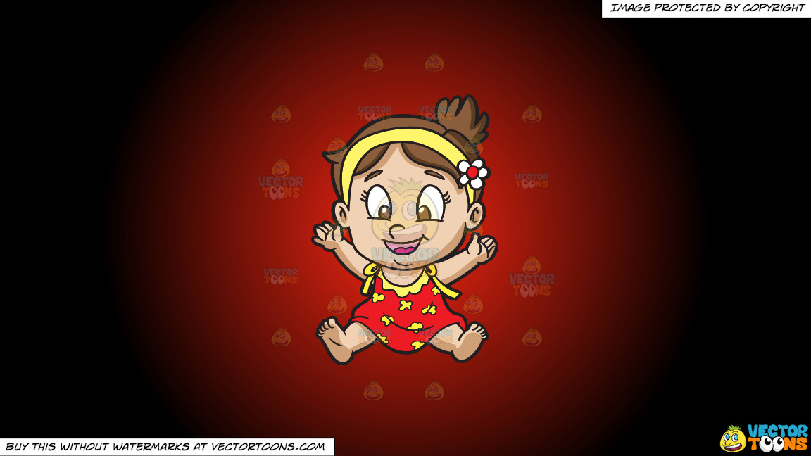A Baby Girl Getting Excited And Happy On A Red And Black Gradient Background thumbnail