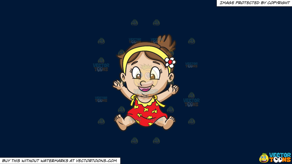 A Baby Girl Getting Excited And Happy On A Solid Dark Blue 011936 Background thumbnail