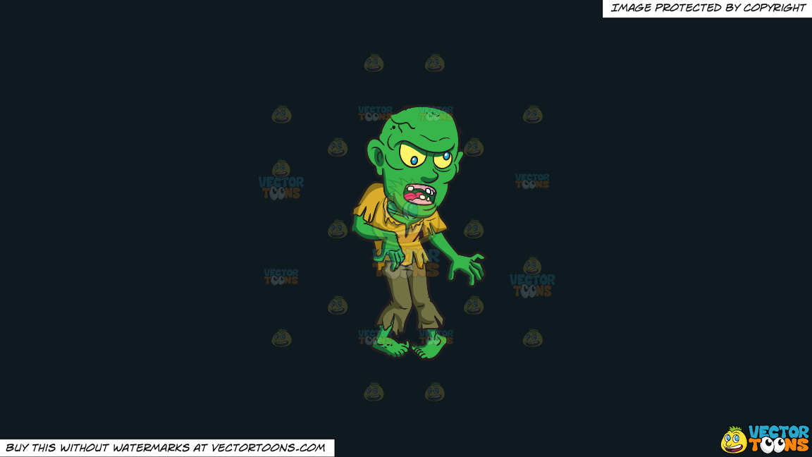 A Bald Green Zombie On A Solid Off Black 0f1a20 Background thumbnail