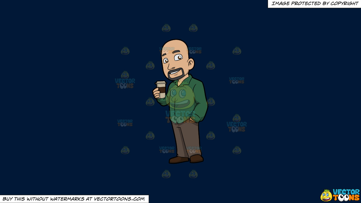 A Bald Guy Drinking Coffee On A Solid Dark Blue 011936 Background thumbnail