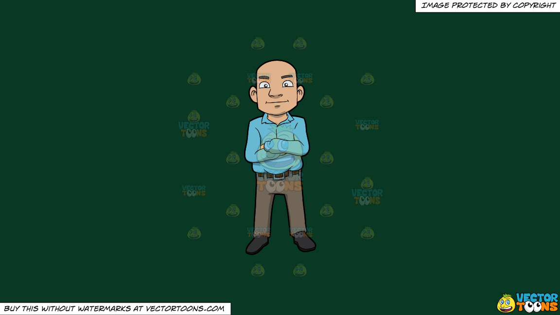 A Bald Guy Standing With His Arms Crossed Over His Chest On A Solid Dark Green 093824 Background thumbnail