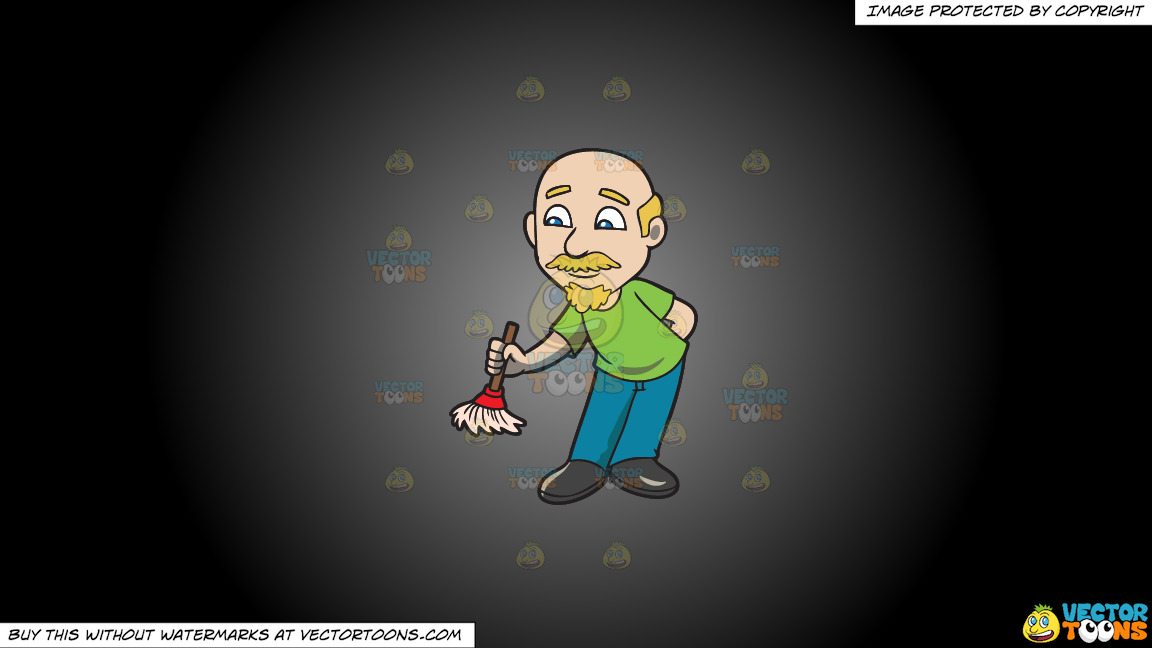 A Bald Man Dusting With A Small Broom On A Grey And Black Gradient Background thumbnail