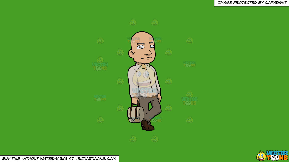 A Bald Man With A Bag On A Solid Kelly Green 47a025 Background thumbnail