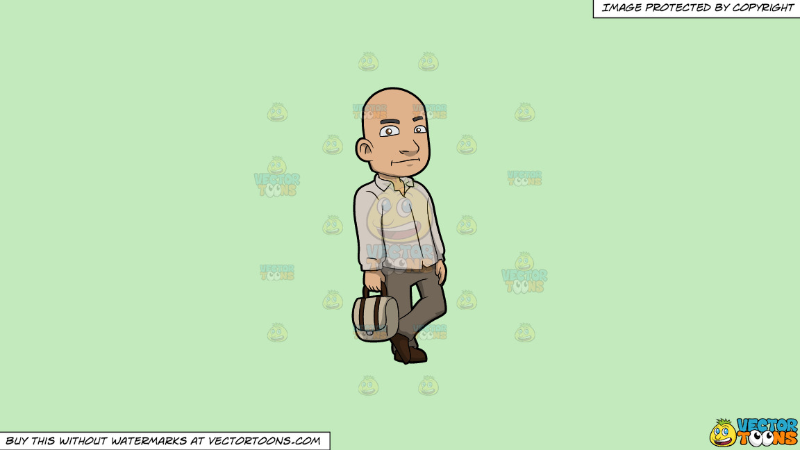 A Bald Man With A Bag On A Solid Tea Green C2eabd Background thumbnail
