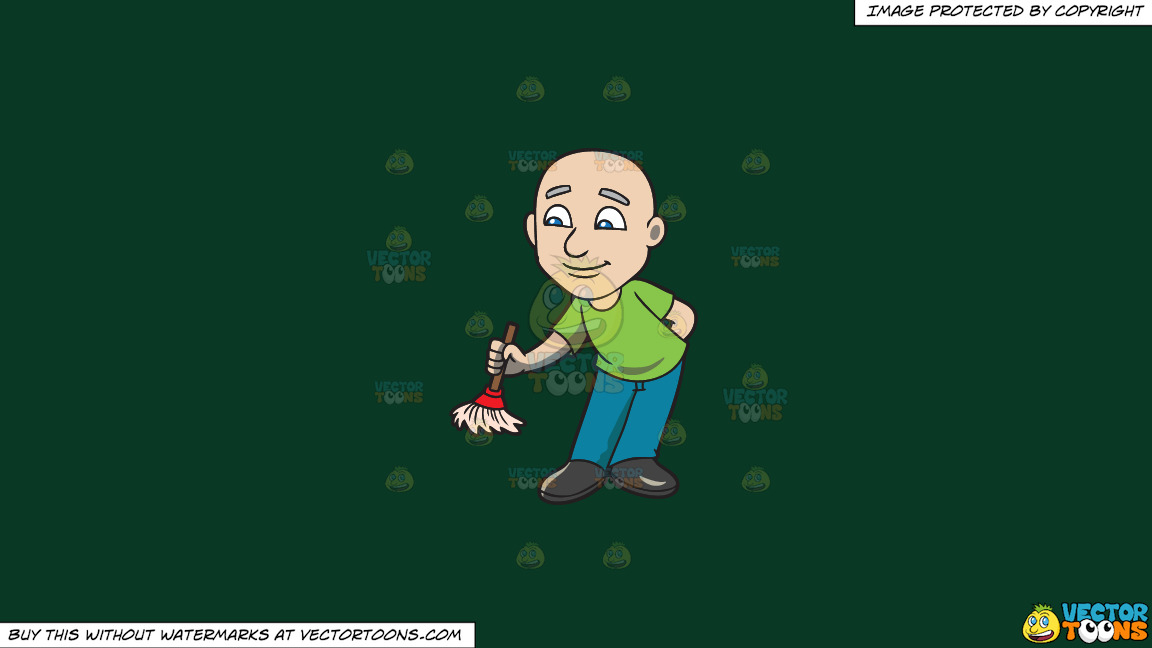 A Bald Man With A Small Broom On A Solid Dark Green 093824 Background thumbnail