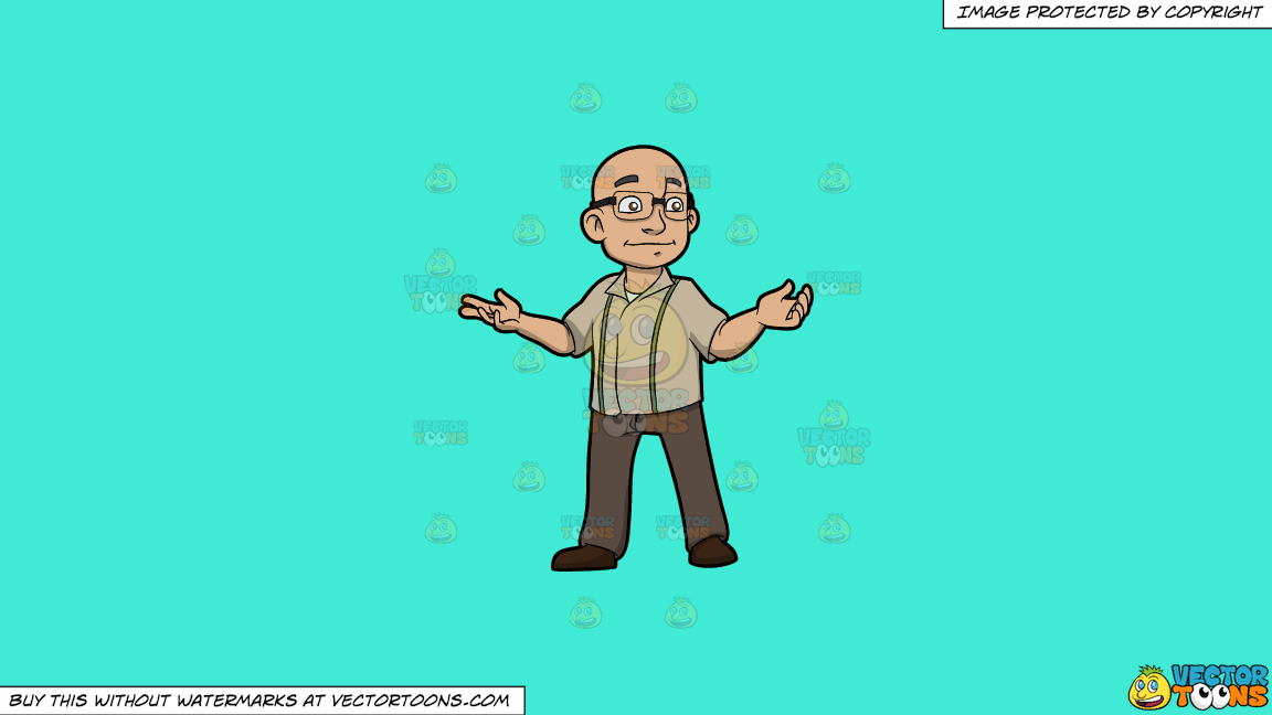 A Bald Man With Glasses On A Solid Turquiose 41ead4 Background thumbnail