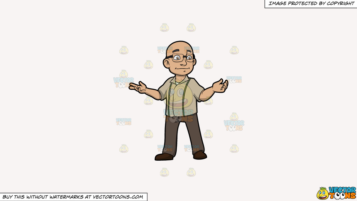 A Bald Man With Glasses On A Solid White Smoke F7f4f3 Background thumbnail