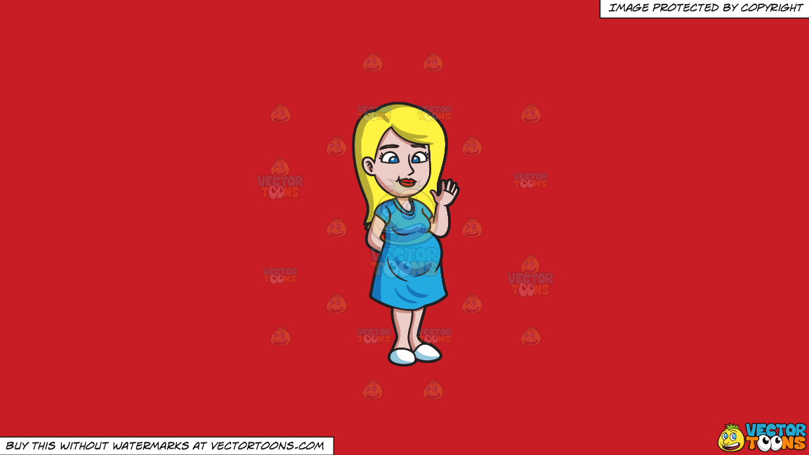 A Beautiful And Friendly Pregnant Woman On A Solid Fire Engine Red C81d25 Background thumbnail