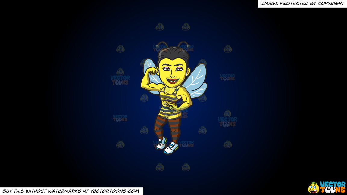 A Bee Girl With Muscles On A Dark Blue And Black Gradient Background thumbnail