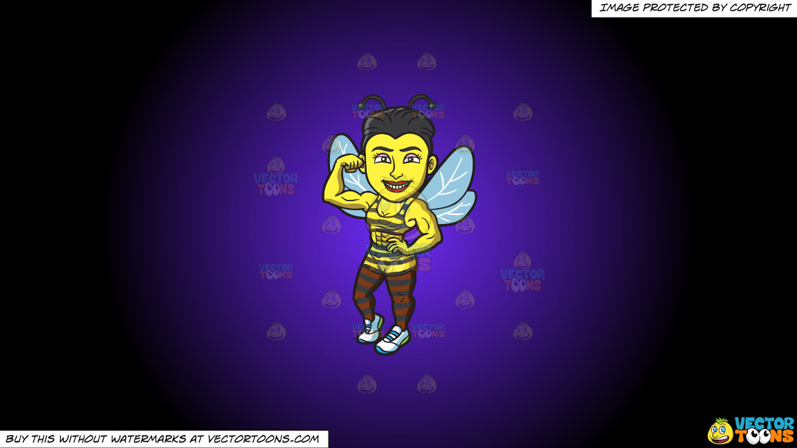 A Bee Girl With Muscles On A Purple And Black Gradient Background thumbnail