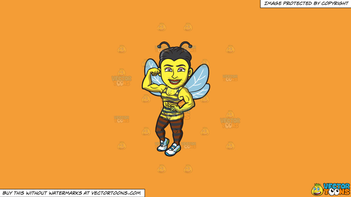 A Bee Girl With Muscles On A Solid Deep Saffron Gold F49d37 Background thumbnail