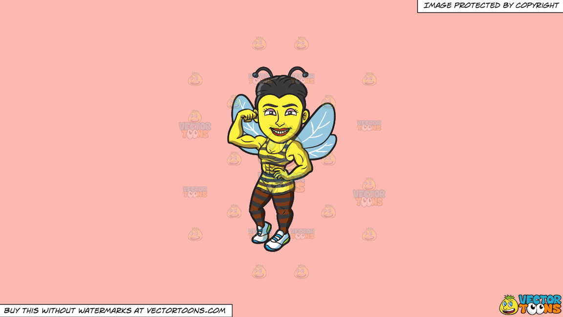 A Bee Girl With Muscles On A Solid Melon Fcb9b2 Background thumbnail
