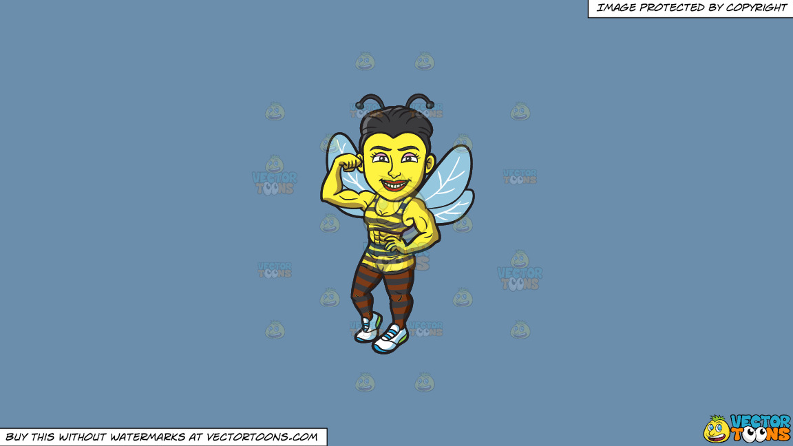 A Bee Girl With Muscles On A Solid Shadow Blue 6c8ead Background thumbnail