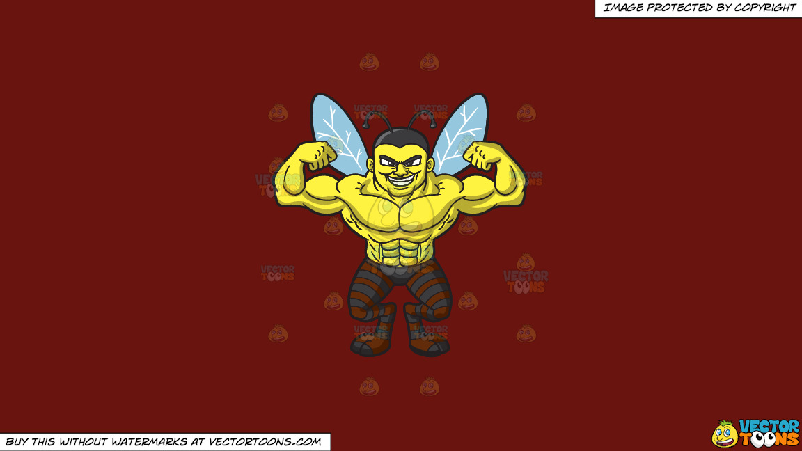 A Bee Man With Muscles On A Solid Maroon 69140e Background thumbnail
