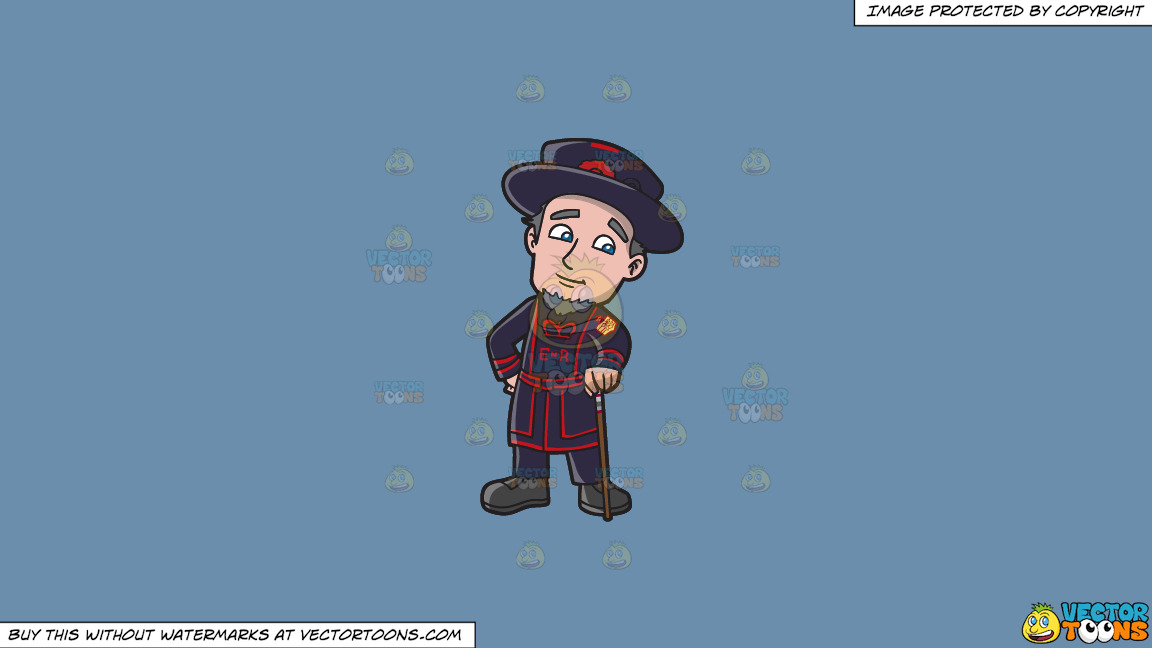 A Beefeater Standing In His Uniform Holding A Cane On A Solid Shadow Blue 6c8ead Background thumbnail