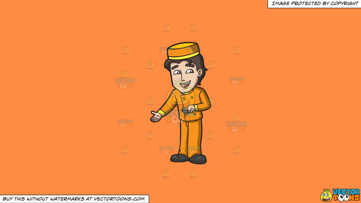 A Bellhop Assisting Hotel Guests On A Solid Mango Orange Ff8c42 Background thumbnail