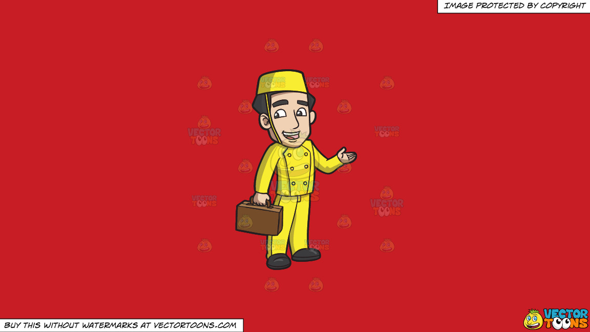 A Bellhop Carrying A Suitcase On A Solid Fire Engine Red C81d25 Background thumbnail