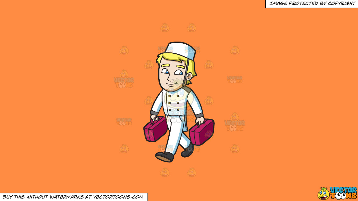 A Bellhop Carrying Luggage Of Guests Into The Room On A Solid Mango Orange Ff8c42 Background thumbnail