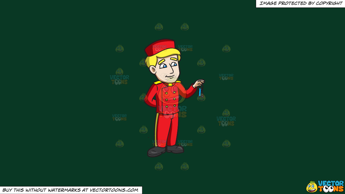 A Bellhop Handing Out The Hotel Key On A Solid Dark Green 093824 Background thumbnail