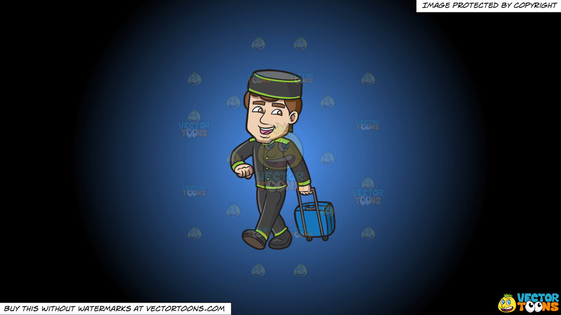 A Bellhop Happily Tows A Stroller Bag On A Blue And Black Gradient Background thumbnail