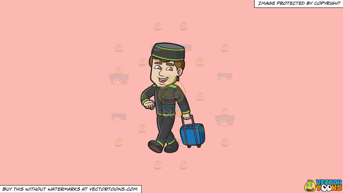 A Bellhop Happily Tows A Stroller Bag On A Solid Melon Fcb9b2 Background thumbnail