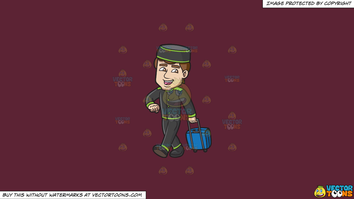 A Bellhop Happily Tows A Stroller Bag On A Solid Red Wine 5b2333 Background thumbnail