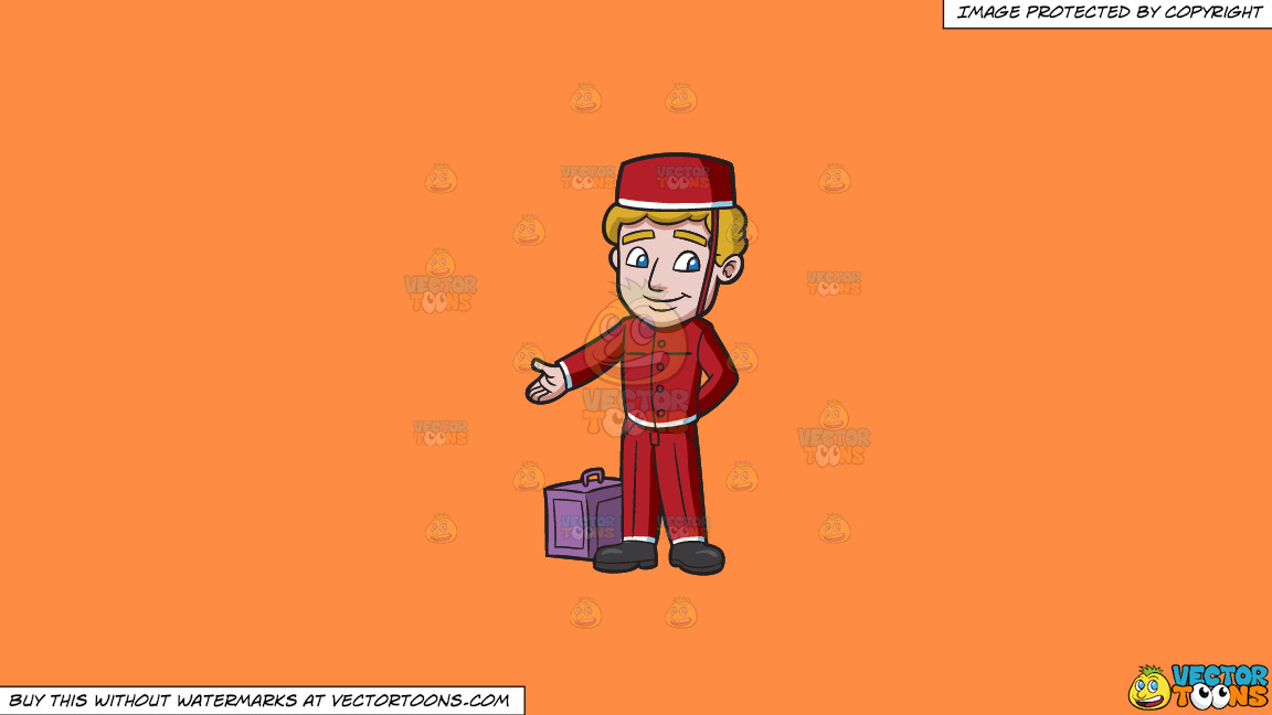 A Bellhop Leading The Guest Into A Room On A Solid Mango Orange Ff8c42 Background thumbnail