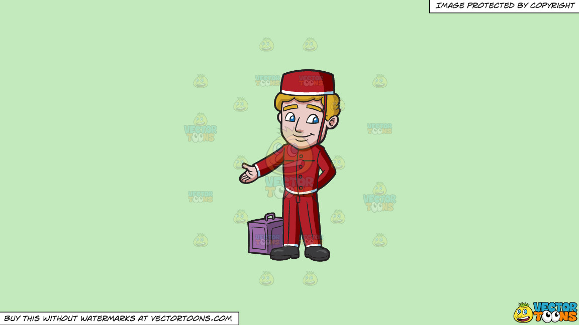 A Bellhop Leading The Guest Into A Room On A Solid Tea Green C2eabd Background thumbnail