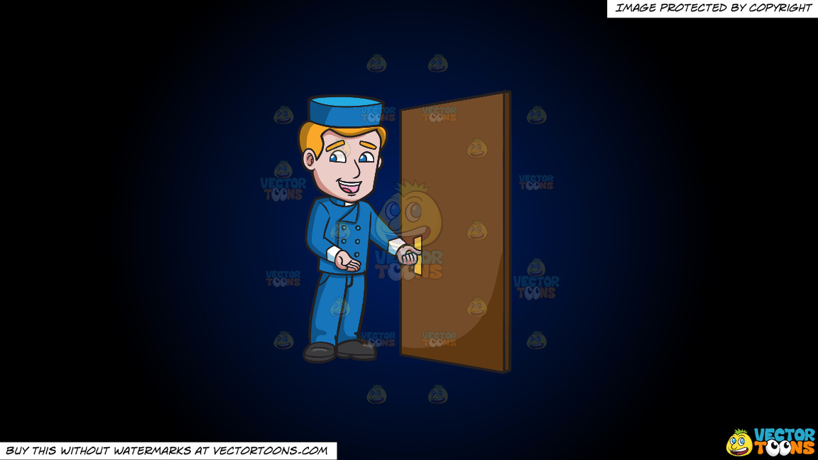 A Bellhop Opening The Hotel Door On A Dark Blue And Black Gradient Background thumbnail