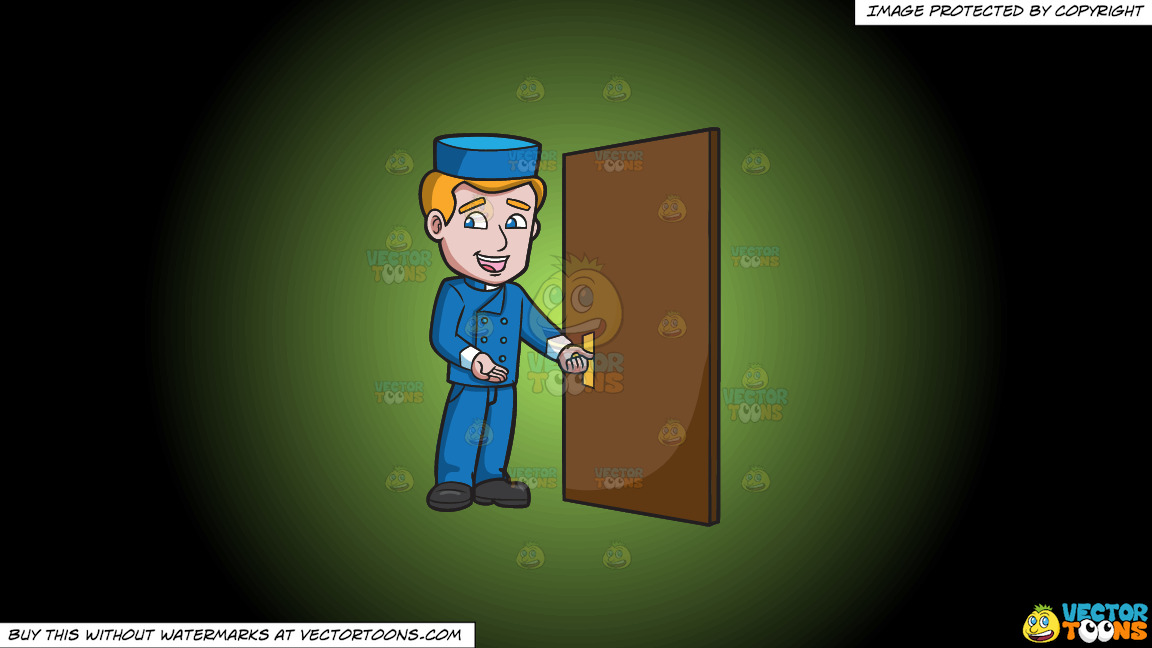 A Bellhop Opening The Hotel Door On A Green And Black Gradient Background thumbnail