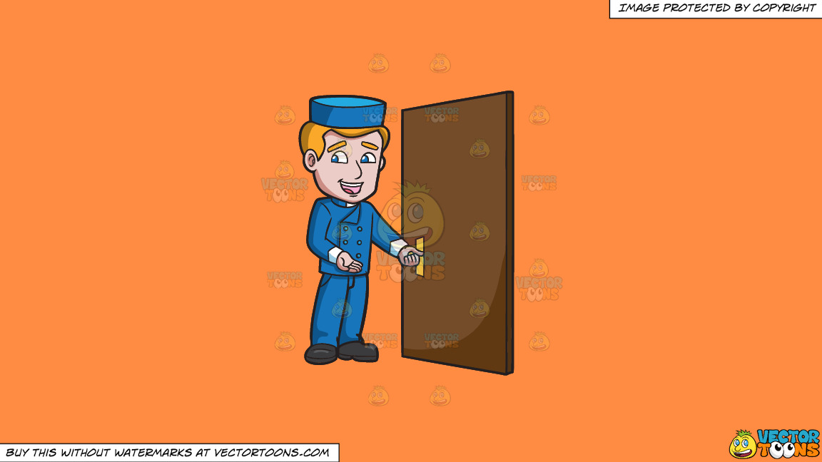 A Bellhop Opening The Hotel Door On A Solid Mango Orange Ff8c42 Background thumbnail