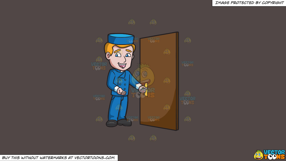 A Bellhop Opening The Hotel Door On A Solid Quartz 504746 Background thumbnail