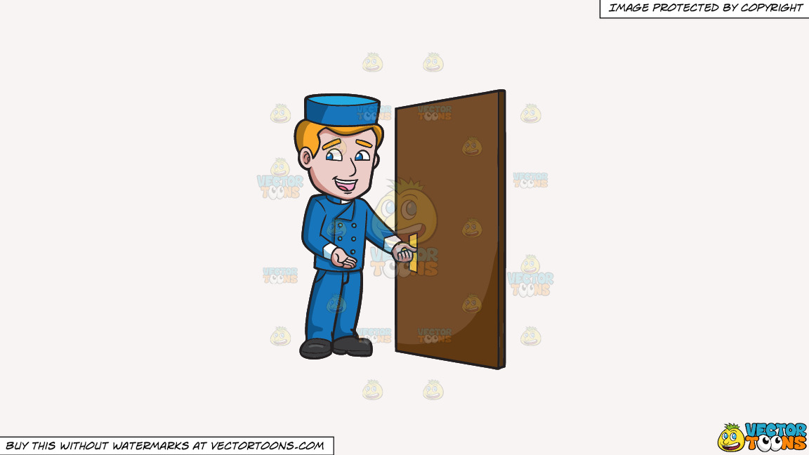 A Bellhop Opening The Hotel Door On A Solid White Smoke F7f4f3 Background thumbnail
