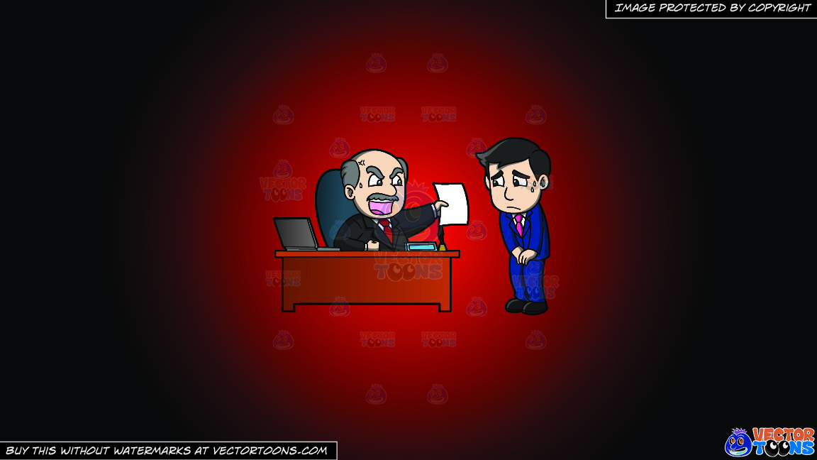 A Big Boss Getting Mad At His Employee On A Red And Black Gradient Background thumbnail