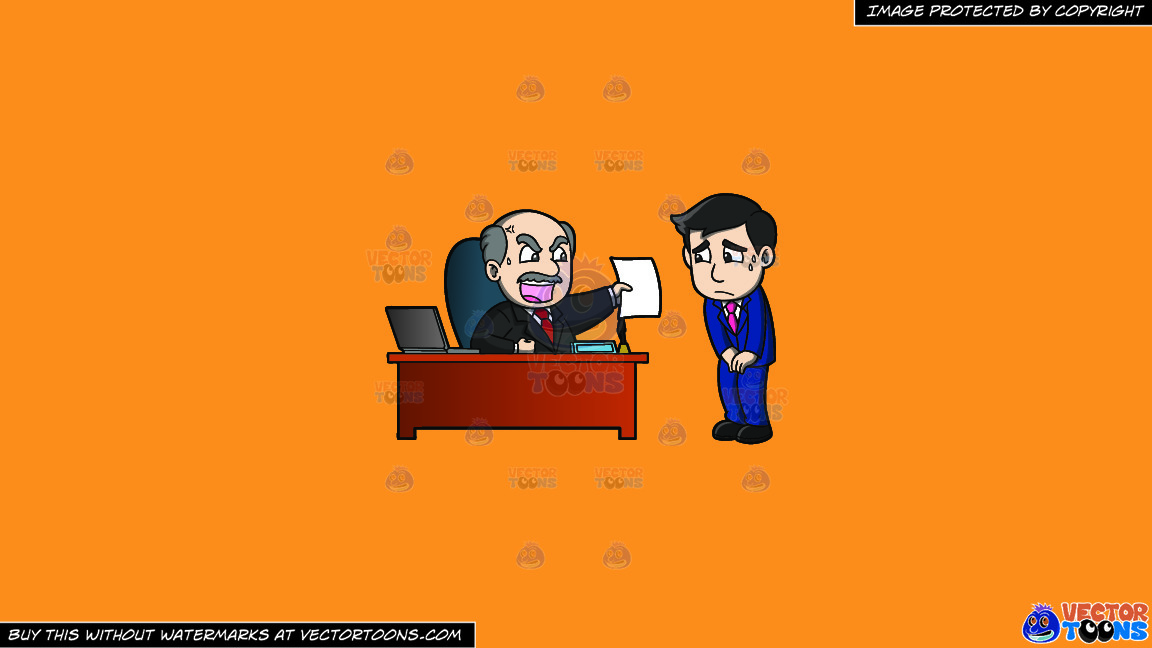 A Big Boss Getting Mad At His Employee On A Solid Deep Saffron Gold F49d37 Background thumbnail