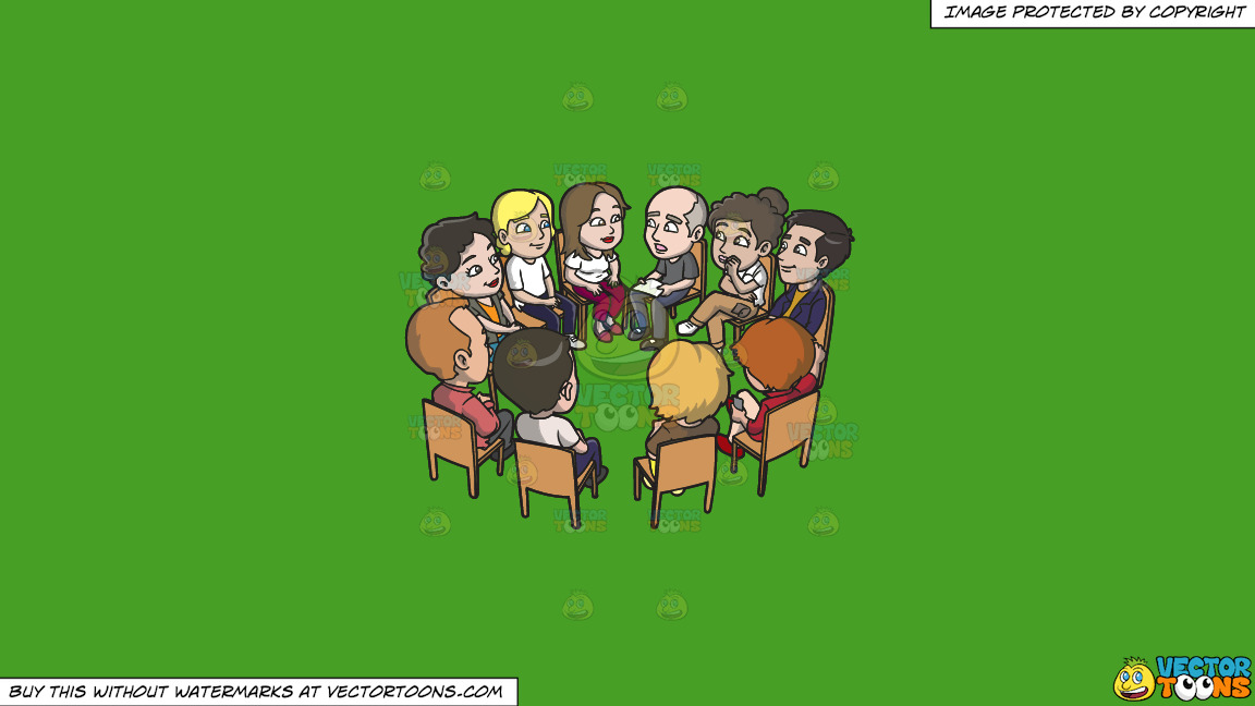 A Big Support Group Meeting On A Solid Kelly Green 47a025 Background thumbnail
