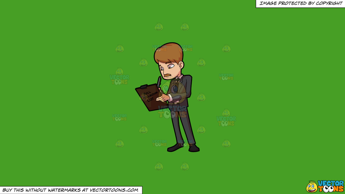 A Bill Collector Writing On His List On A Solid Kelly Green 47a025 Background thumbnail
