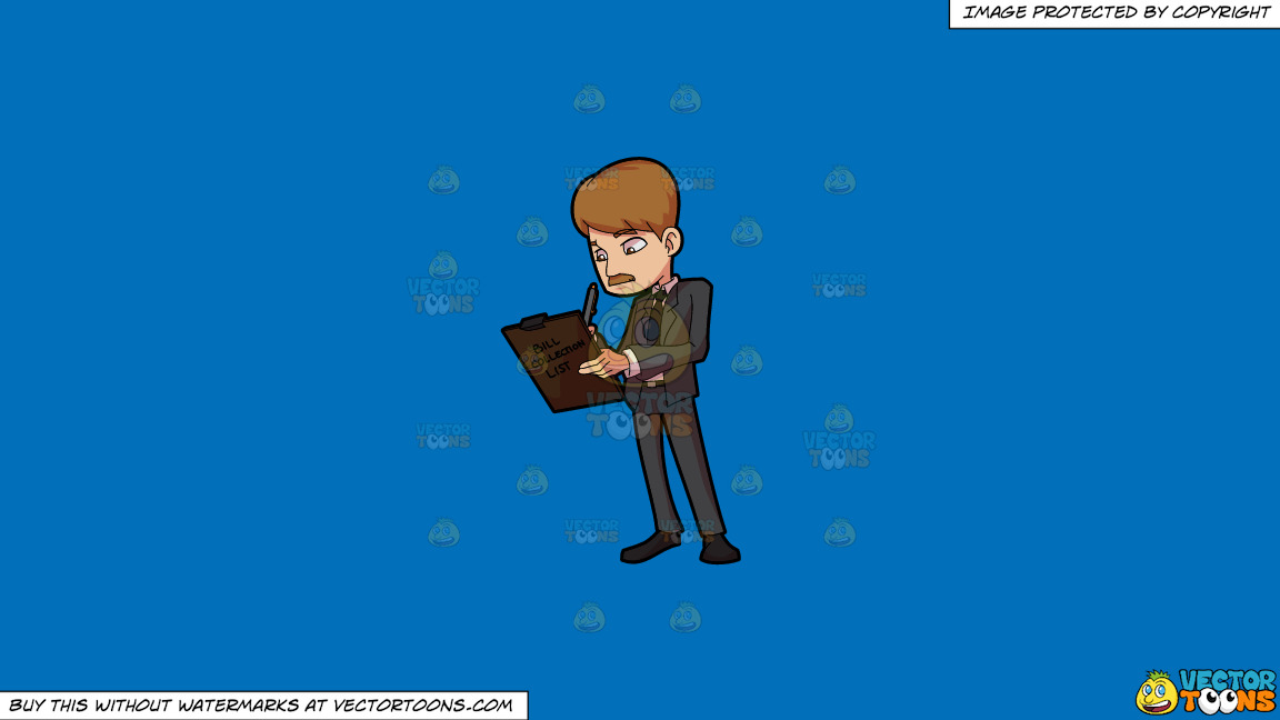 A Bill Collector Writing On His List On A Solid Spanish Blue 016fb9 Background thumbnail