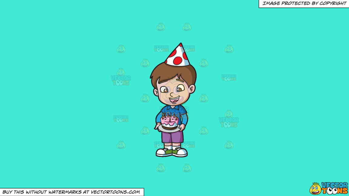A Birthday Boy Appreciating His Cake On A Solid Turquiose 41ead4 Background thumbnail