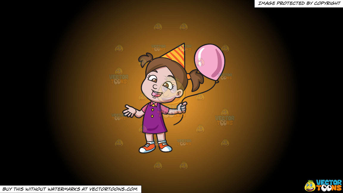 A Birthday Girl With Her Balloon On A Orange And Black Gradient Background thumbnail