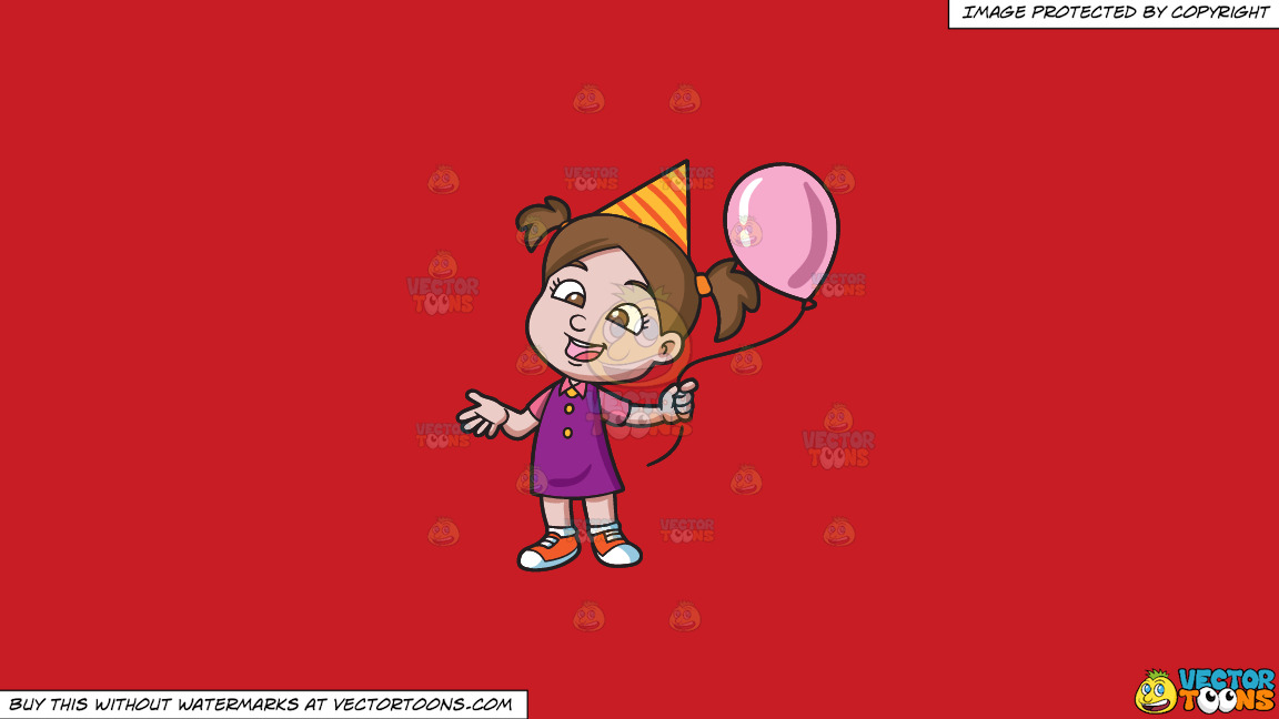 A Birthday Girl With Her Balloon On A Solid Fire Engine Red C81d25 Background thumbnail