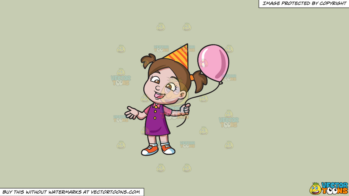 A Birthday Girl With Her Balloon On A Solid Pale Silver C6ccb2 Background thumbnail