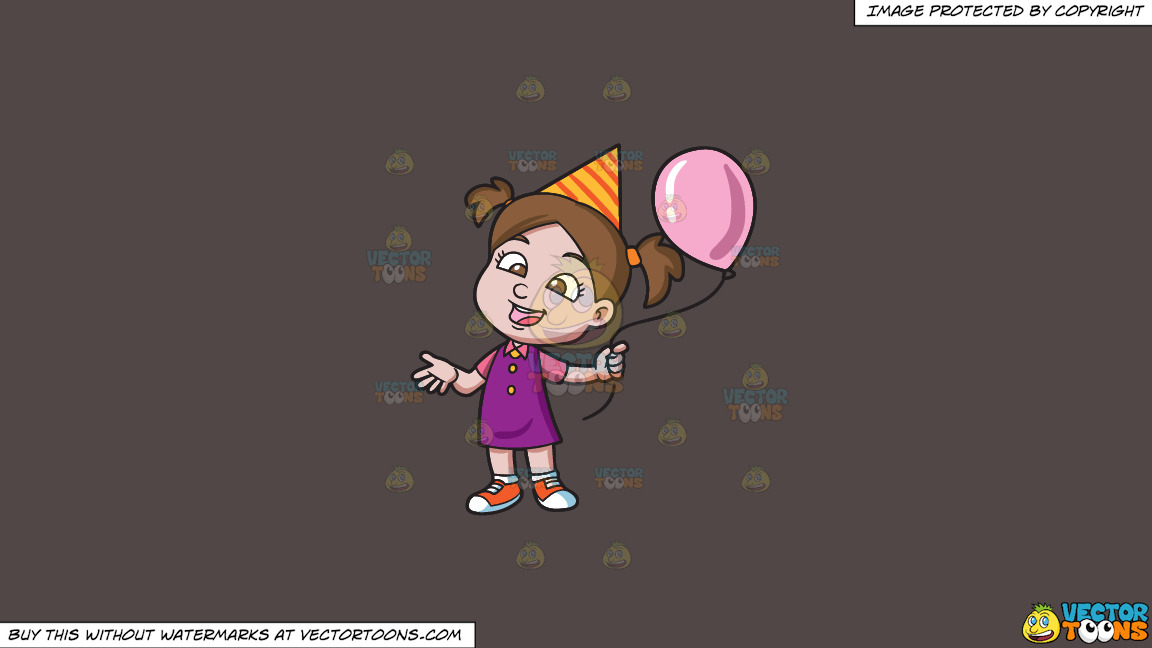 A Birthday Girl With Her Balloon On A Solid Quartz 504746 Background thumbnail