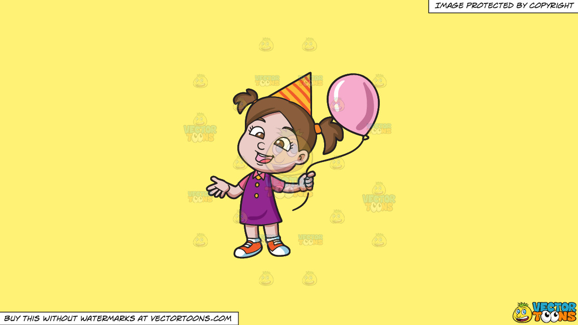 A Birthday Girl With Her Balloon On A Solid Sunny Yellow Fff275 Background thumbnail