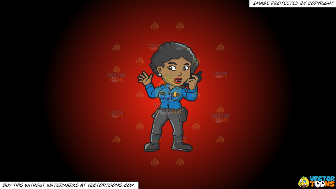 A Black Female Airport Security Guard On A Red And Black Gradient Background thumbnail