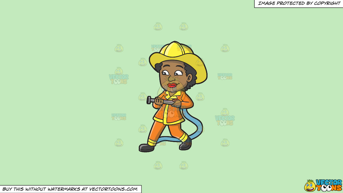 A Black Female Firefighter On A Solid Tea Green C2eabd Background thumbnail