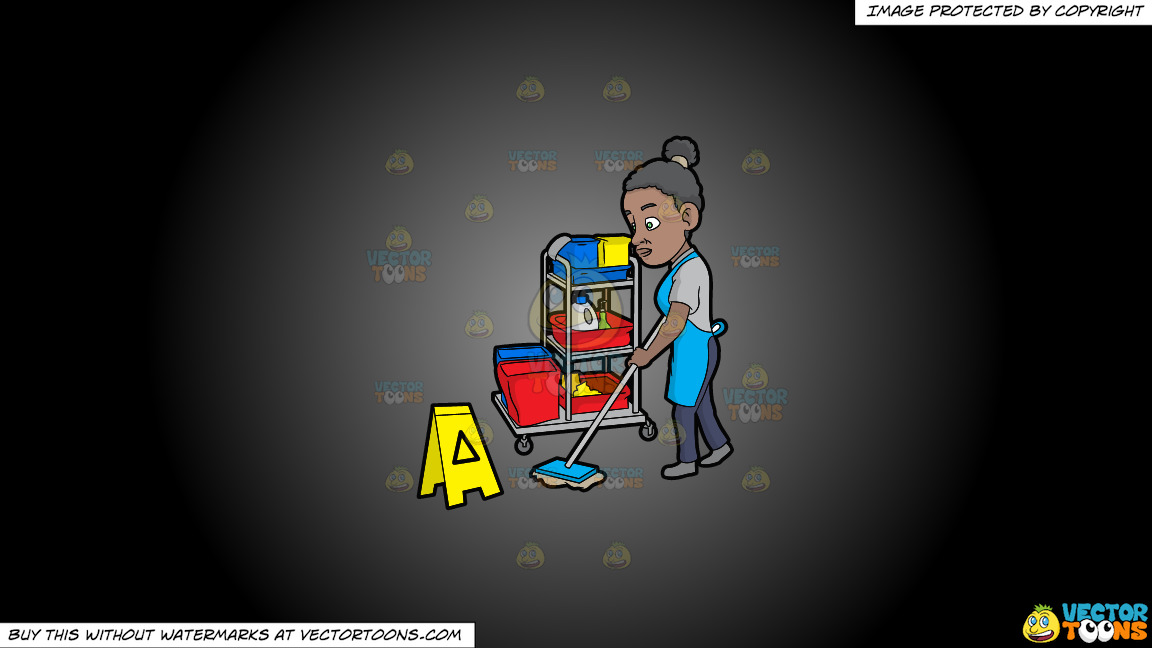 A Black Female Janitor Mopping The Floor On A Grey And Black Gradient Background thumbnail