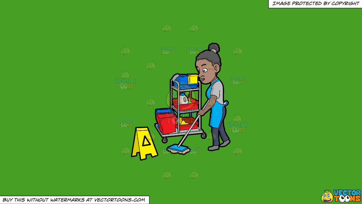 A Black Female Janitor Mopping The Floor On A Solid Kelly Green 47a025 Background thumbnail