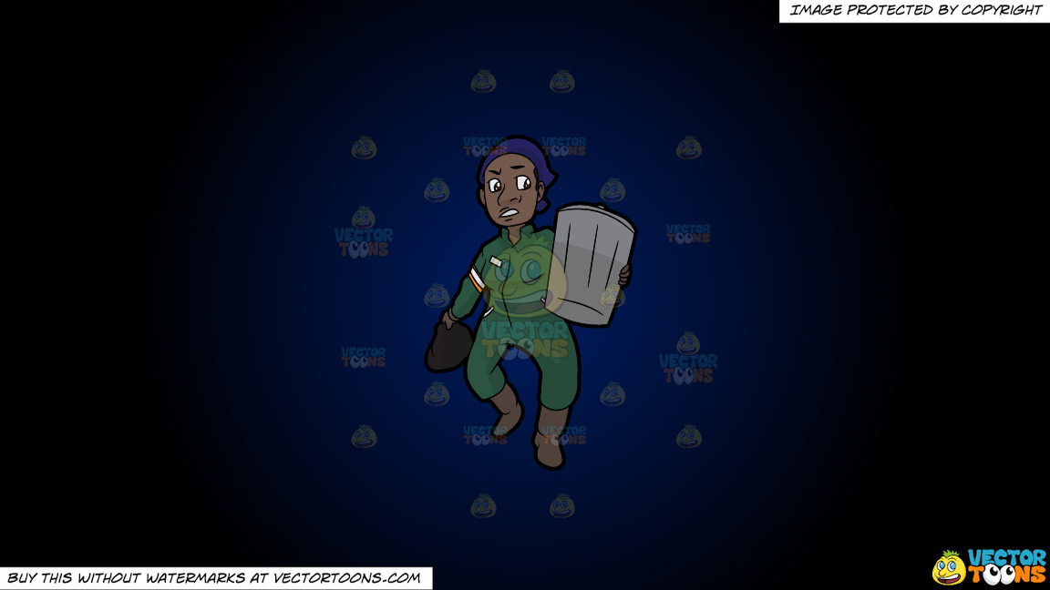 A Black Female Sanitation Worker Carrying A Trash Can On A Dark Blue And Black Gradient Background thumbnail